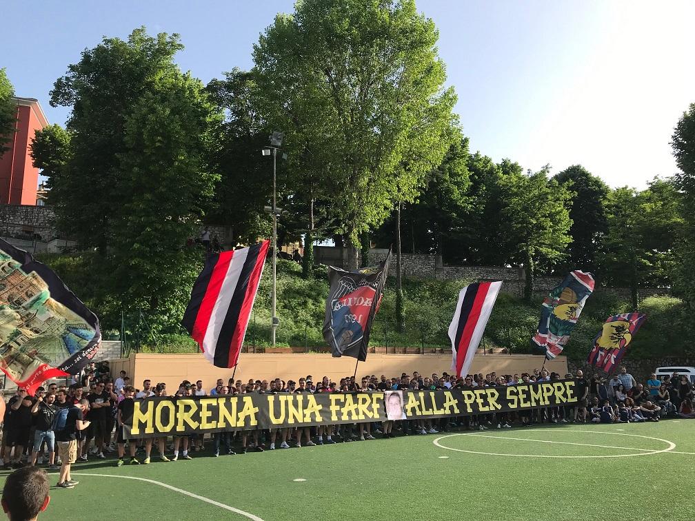 """Striscione per l'associazione """"Morena Una Farfalla Per Sempre"""""""