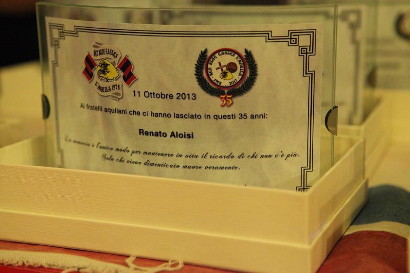 Targa in memoria di Renato Aloisi Venerdi 11 Ottobre 2013