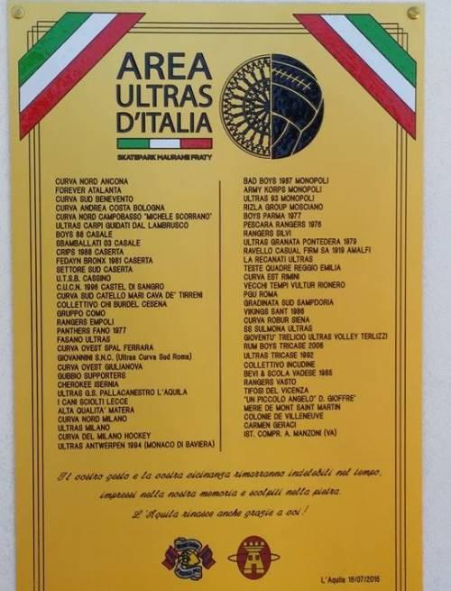 Targa posta sotto la statua con incisi tutti i nomi delle tifoserie e gruppi ultras che hanno aderito al nostro progetto