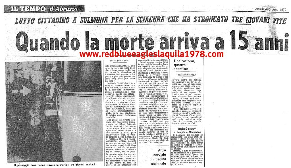 Ritaglio dei giornali dell'epoca inerenti l'incidente di Sulmona