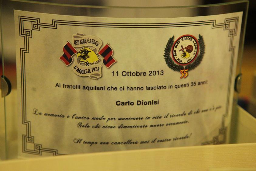 Targa in memoria di Carlo Dionisi Venerdi 11 Ottobre 2013