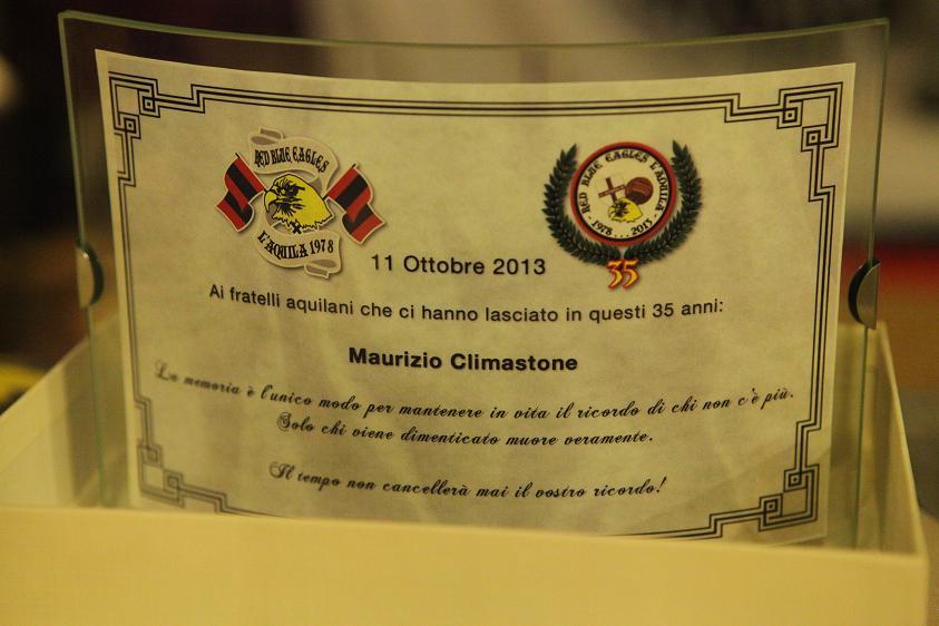 Targa in memoria di Maurizio Climastone Venerdi 11 Ottobre 2013