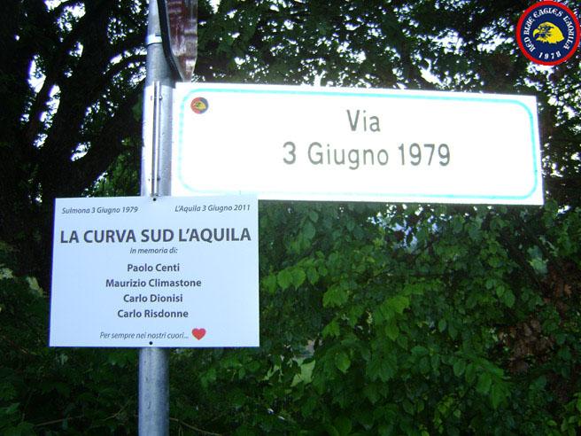 Via 3 Giugno 1979 ( strada intitolata in memoria dei quattro ragazzi che hanno perso la vita a Sulmona )