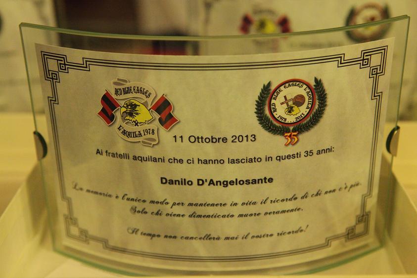 Targa in memoria di Danilo D'Angelosante Venerdi 11 Ottobre 2013