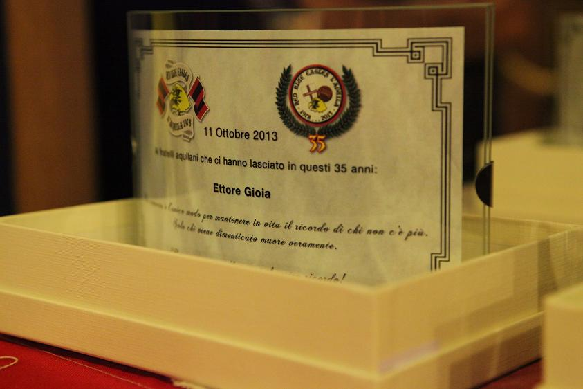 Targa in memoria di Ettore Gioia Venerdi 11 Ottobre 2013