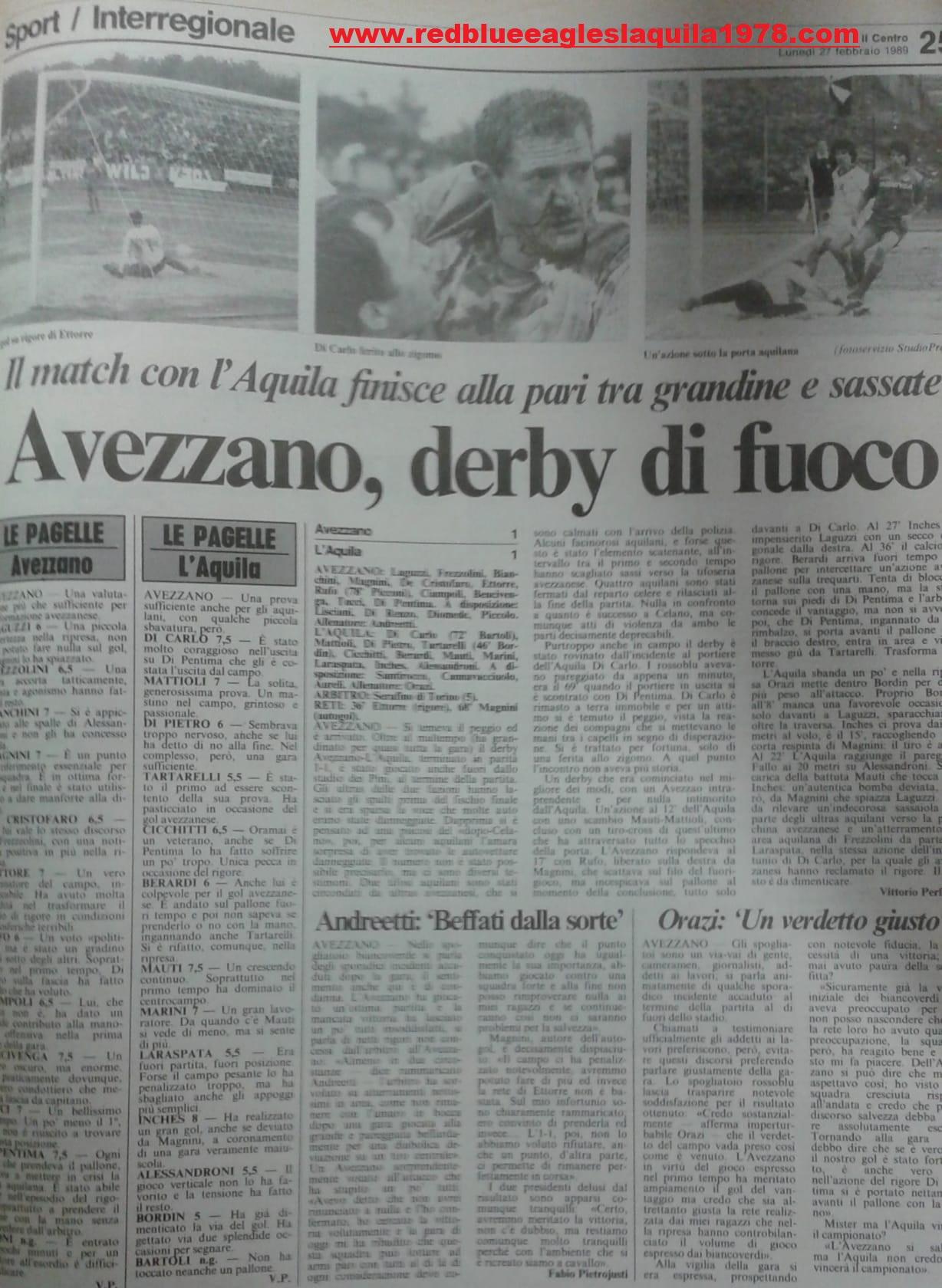 Scontri Avezzano-L'Aquila Serie D 1988-1989