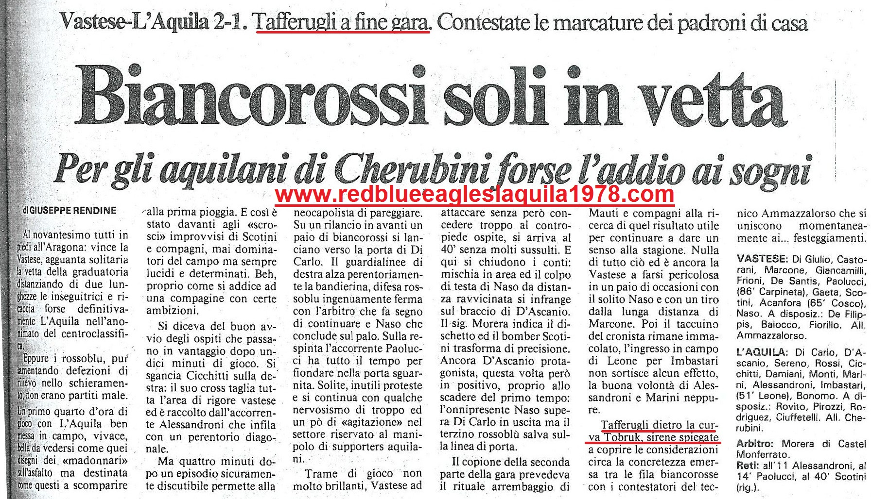 5 novembre 1989 Vastese L'Aquila serie D. Scontri a fine gara dietro la curva ospite tra aquilani e polizia