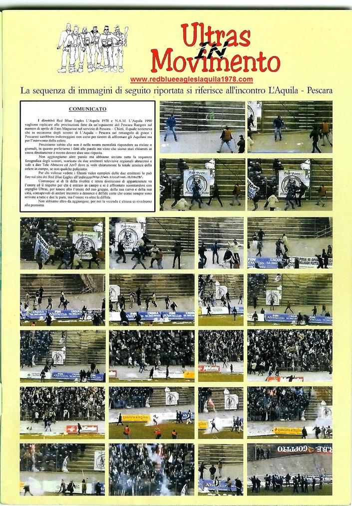 (Sequenza immagini tratta dal n° 60 di fans magazine Maggio 2003 )Scontri in campo al termine di L'Aquila-Pescara 9-02-2003 serie C1
