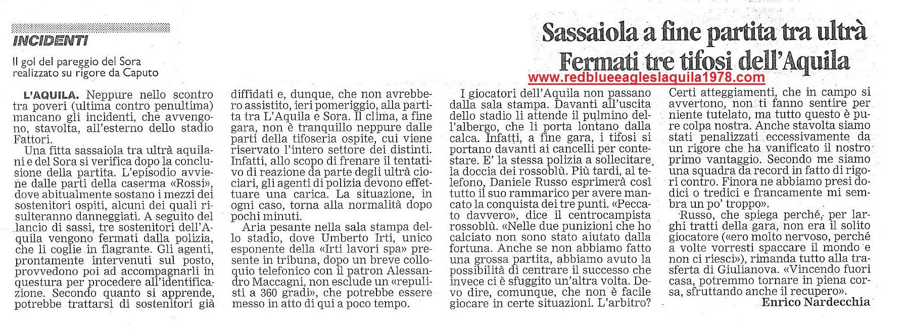 Sassaiola fra gli ultras delle due tifoserie.L'Aquila-Sora 23 Marzo 2003 Serie C1