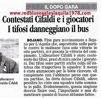 Dura contestazione e conseguente assedio alla squadra e alla società dell'Aquila calcio al termine di Bojano-L'Aquila serie D 9 Maggio 2010