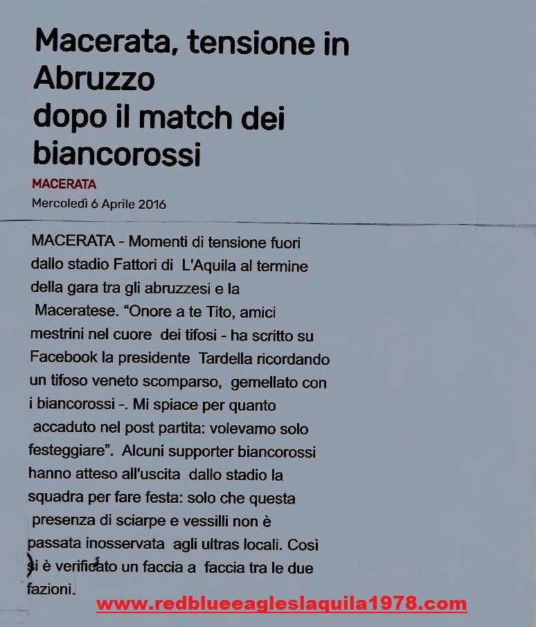 Disordini L'Aquila-Maceratese (Lega Pro) 3 Aprile 2016