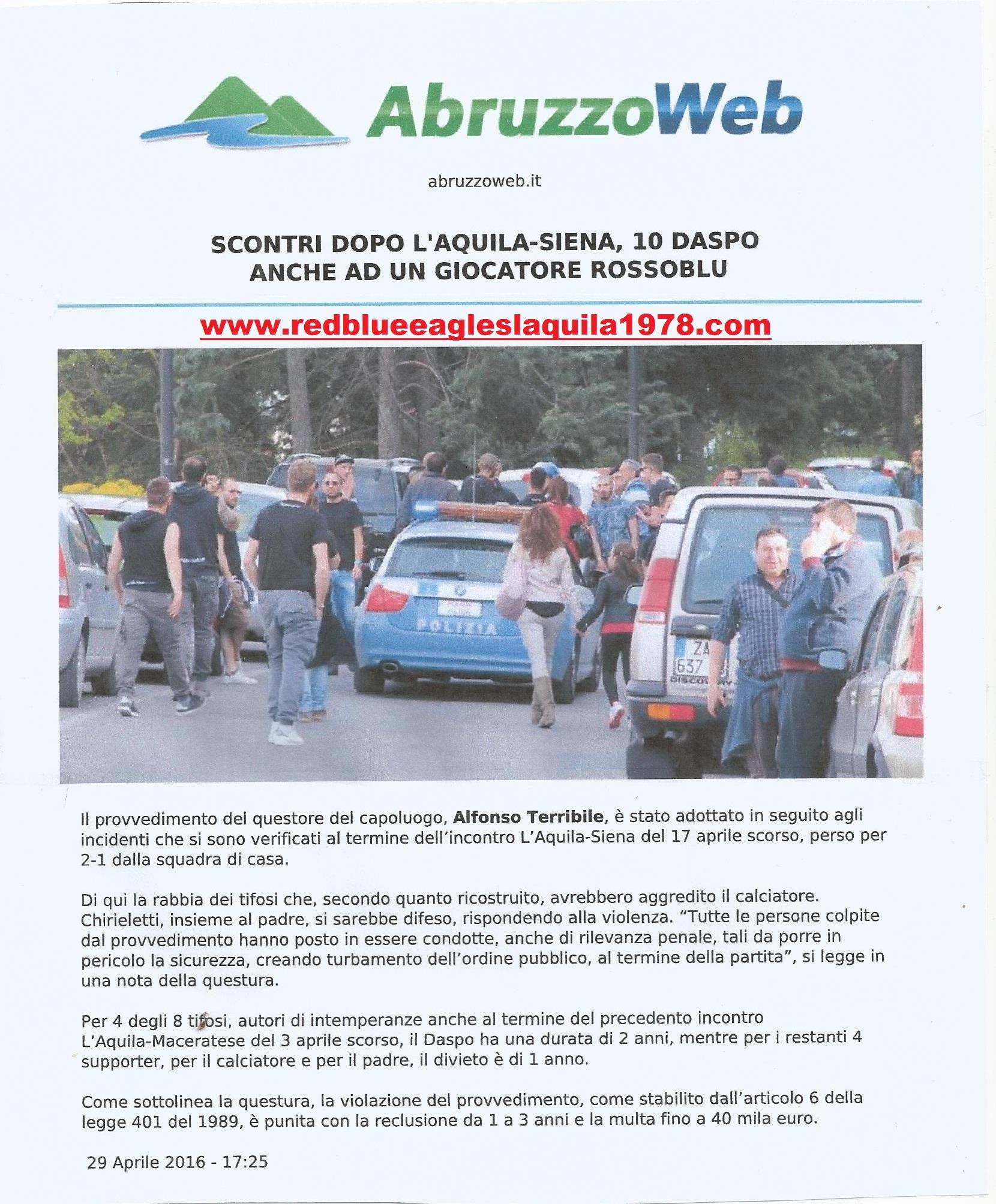 Disordini L'Aquila-Siena (lega pro) 17 Aprile 2016