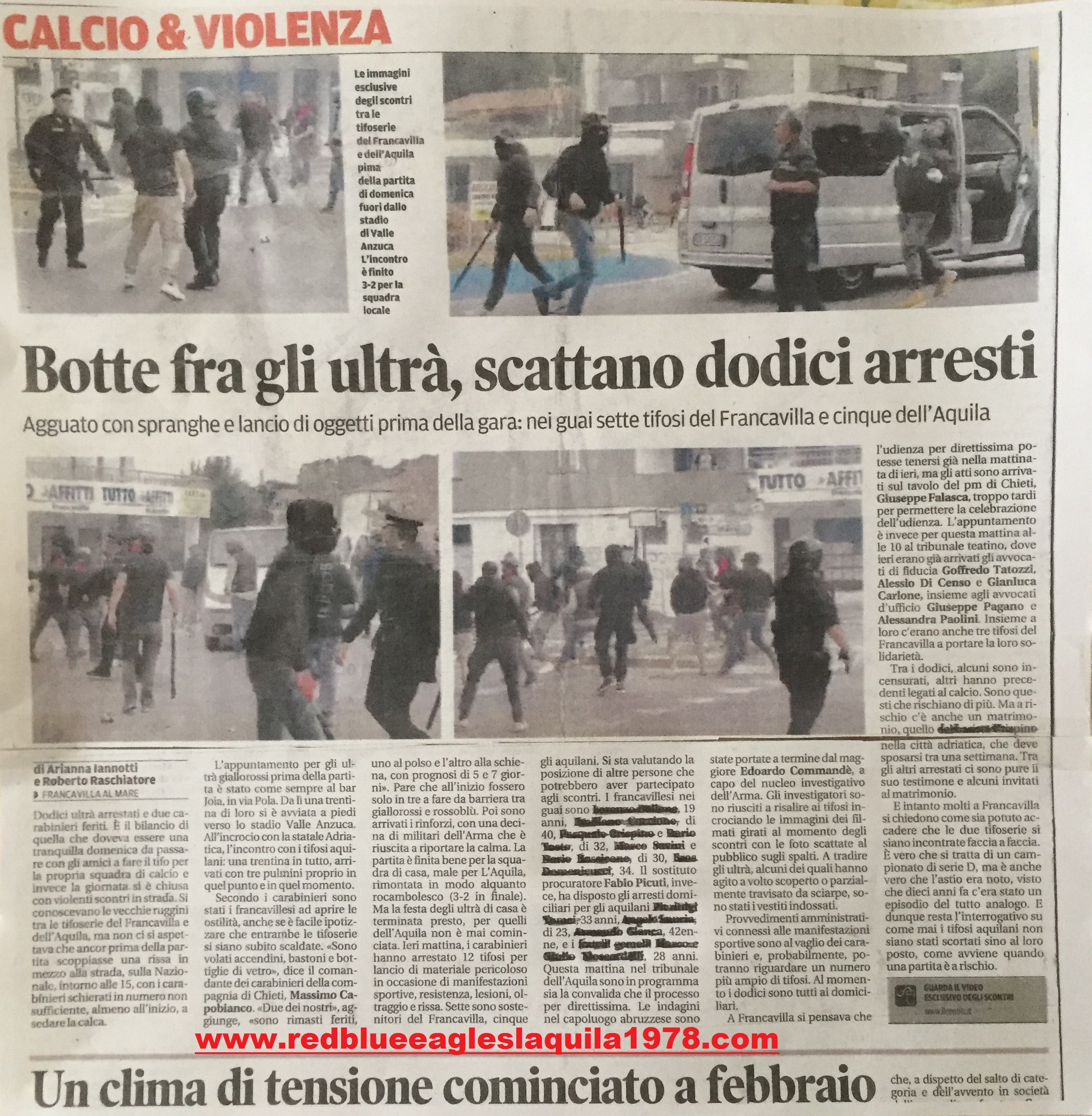 Scontri in strada Francavilla-L'Aquila (serie D) 22 Ottobre 2017