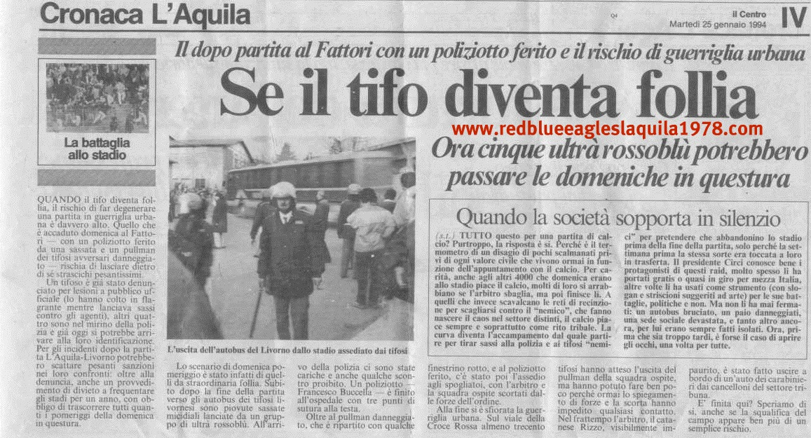 Incidenti in L'Aquila-Livorno 1994 serie C2