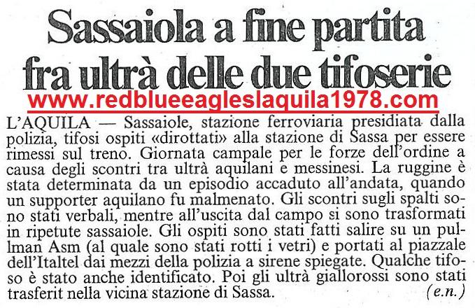 L'Aquila-Messina serie C2 31 Gennaio 1999. Sassaiola tra le due tifoserie al termine della partita.