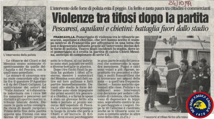 Scontri Aquilani e Teatini contro Pescaresi e Messinesi in Chieti- Messina sul neutro di Francavilla 24-10-1999