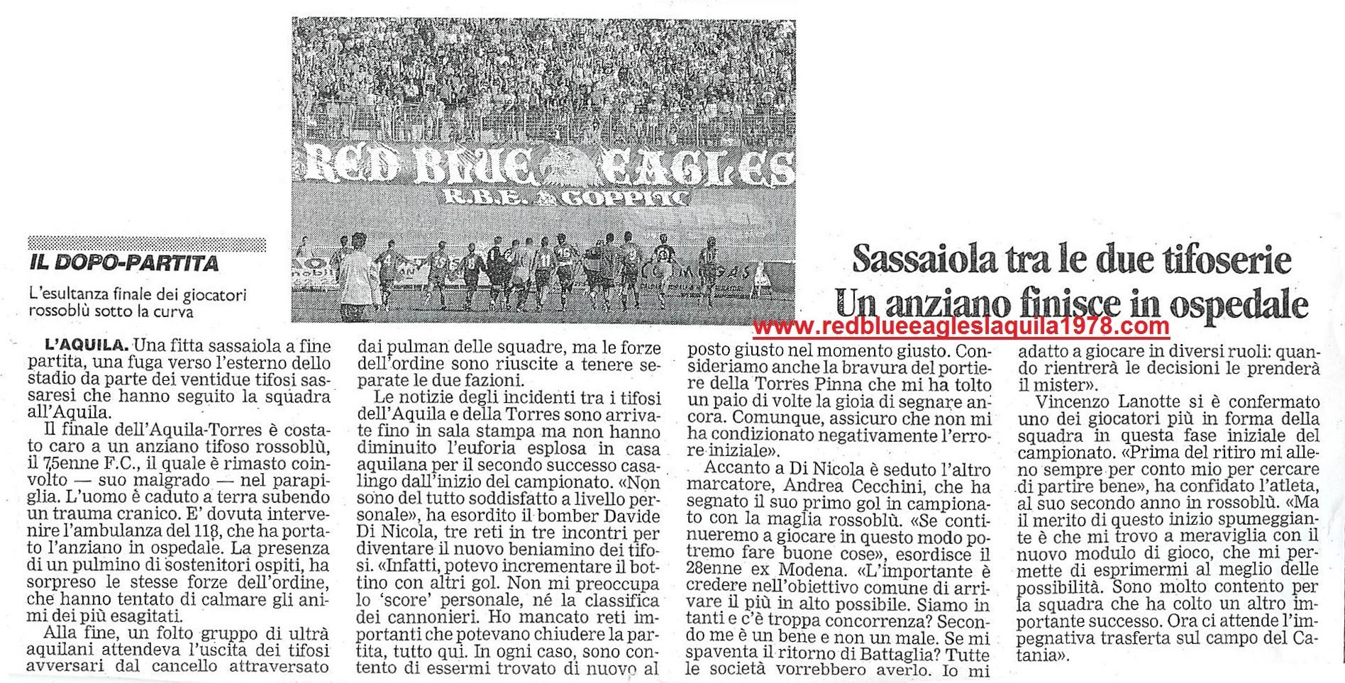 Sassaiola contro i tifosi ospiti in L'Aquila-Torres 17 Settembre 2000 serie C1