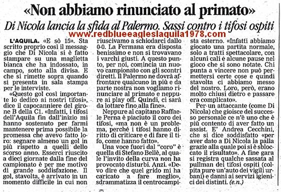 Sassaiola contro il pullman dei tifosi ospiti al termine di L'Aquila-Fermana serie C1 26-02-2001