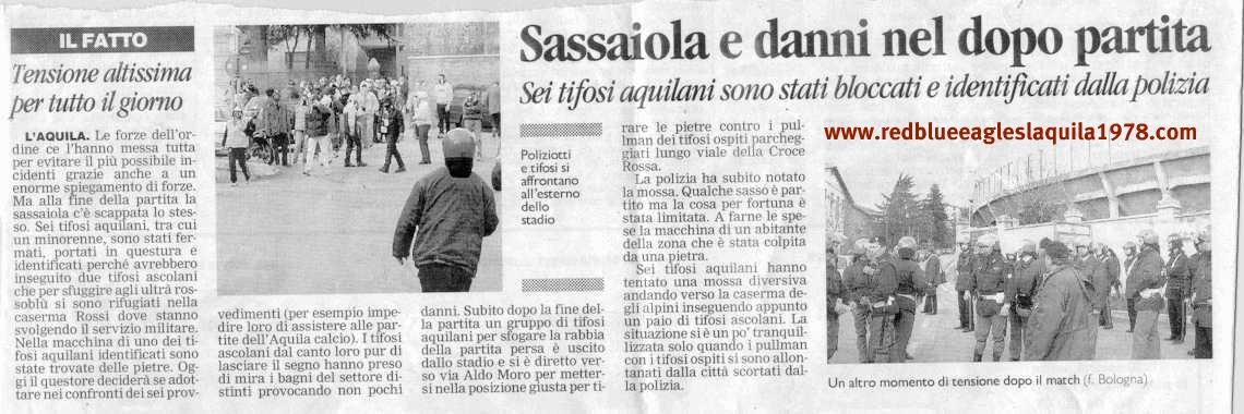 Scontri all'esterno dello stadio e sassaiola nel dopo partita di L'Aquila-Ascoli 11-03-2001 serie C1