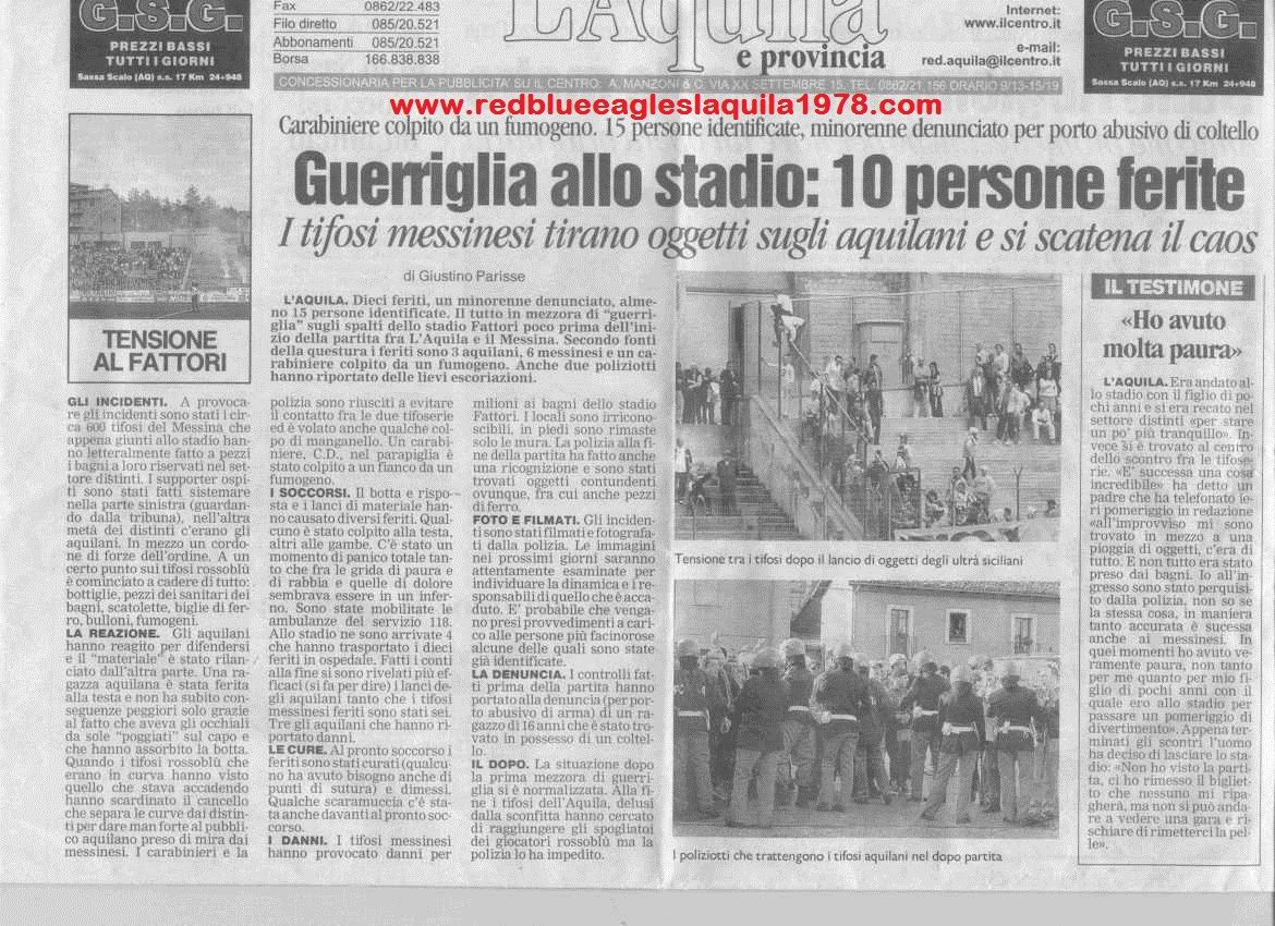 Invasione ai distinti con lancio di torce e oggetti in L'Aquila-Messina 29-04-2001 serie C1