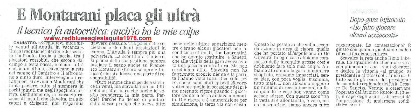 Invasione di campo e aggressione ai giocatori dell'Aquila a fine partita.Canistro-L'Aquila 5-11-2006 Eccellenza