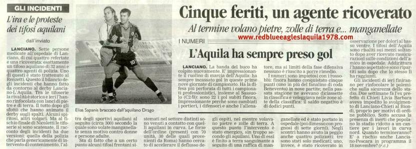 Scontri tra aquilani e lancianesi e tra aquilani e polizia in Lanciano-L'Aquila 28-10-2001 serie C1