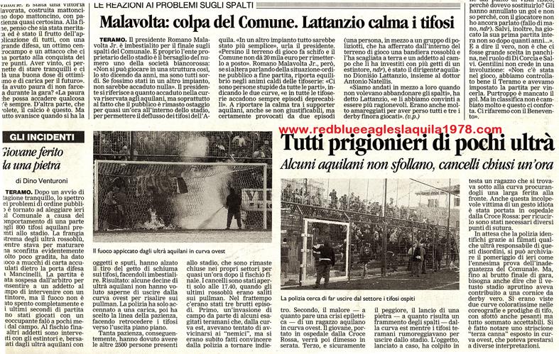 Scontri nel settore ospite in Teramo-L'Aquila 20-10-2002 serie C1