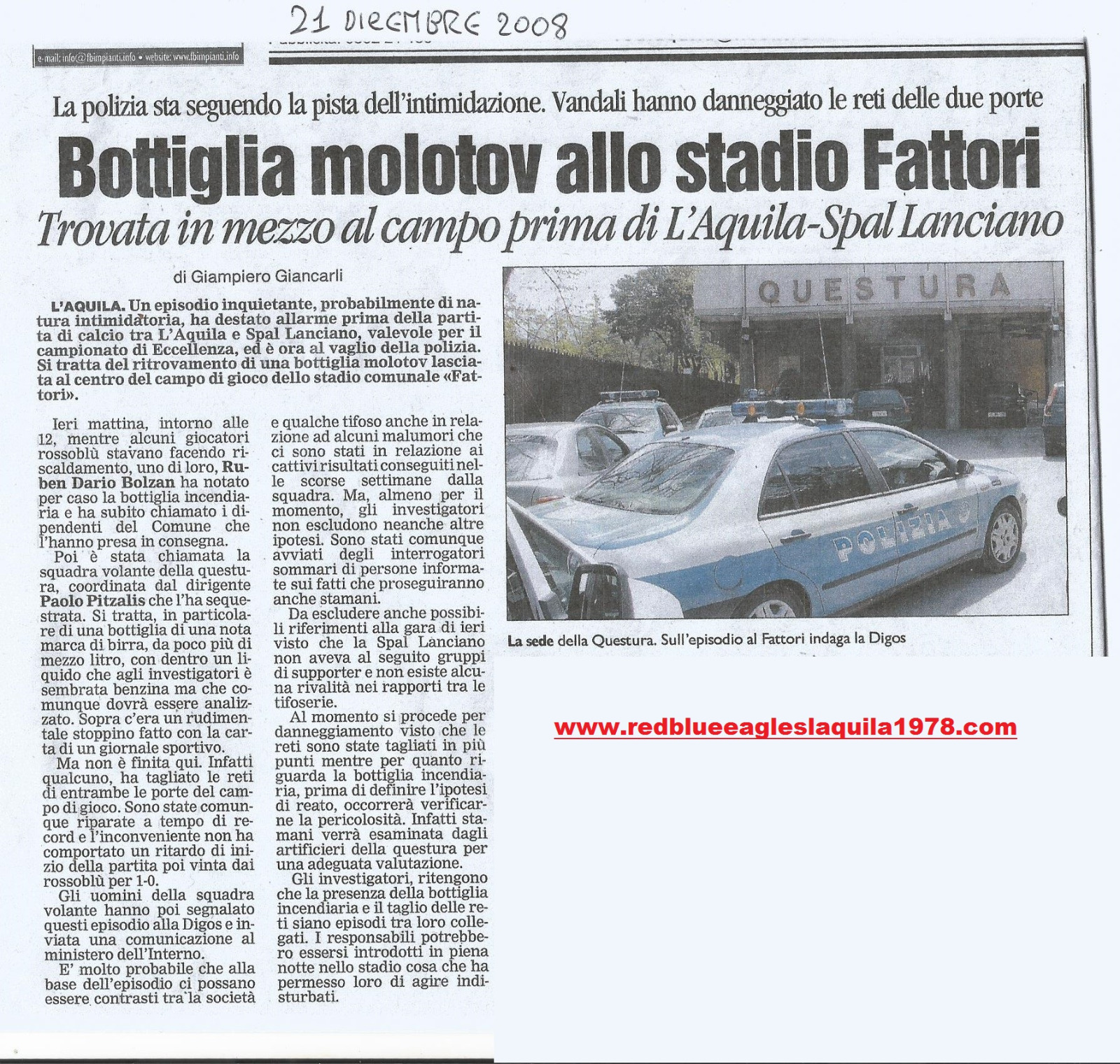 Bottiglia molotov allo stadio (eccellenza) 21 Dicembre 2008