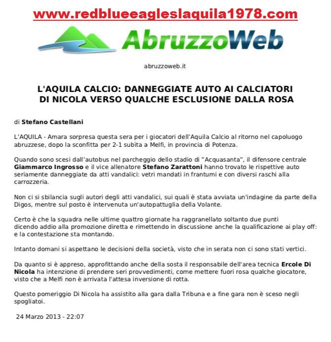 Danneggiamento delle auto dei calciatori 24 Marzo 2013