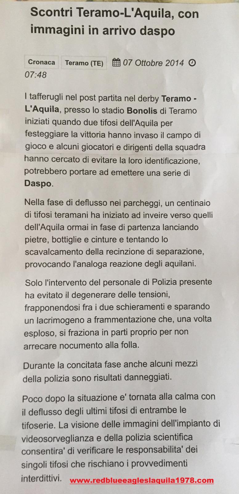 Incidenti Teramo-L'Aquila (Lega Pro) 5 Ottobre 2014