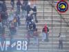 Scontri dentro lo stadio. Lancio di torce e bombe carta con ferimento di 3 poliziotti in L'Aquila-Sambenedettese 15 Dicembre 2002 serie C1