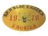Targa posta all\'ingresso della seconda sede in centro storico,via Santa Giusta, dei Red Blue Eagles L\'Aquila 1978 (Targa che riporta il primo stemma ufficiale del gruppo)