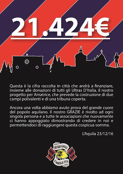 """Raccolti a L'Aquila in 4 mesi 21.424€ per finanziare il progetto """"Ultras d'Italia per Amatrice"""""""