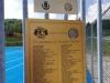 Targa commemorativa per Gianni Cicconi all'ingresso del campo polivalente e riportante i nomi di tutte le curve/gruppi che hanno partecipato al progetto