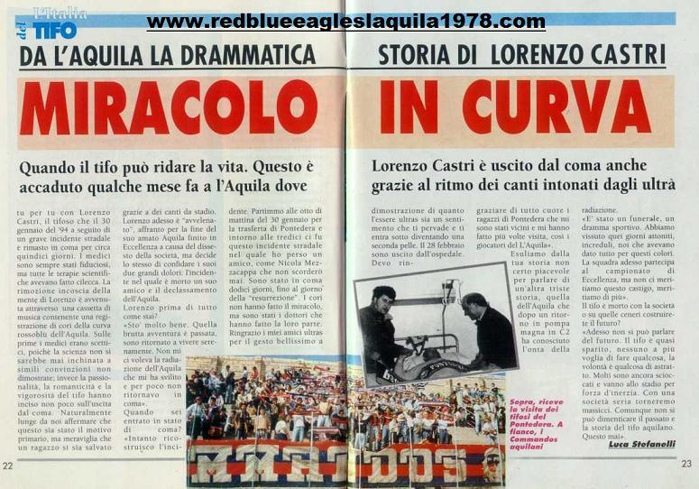 Ritaglio di giornale della rivista TIFO sulla storia di Lorenzo Castri: miracolo in curva 29 Novembre 1994