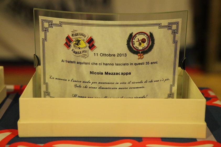Targa in memoria di Nicola Mezzacappa Venerdi 11 Ottobre 2013