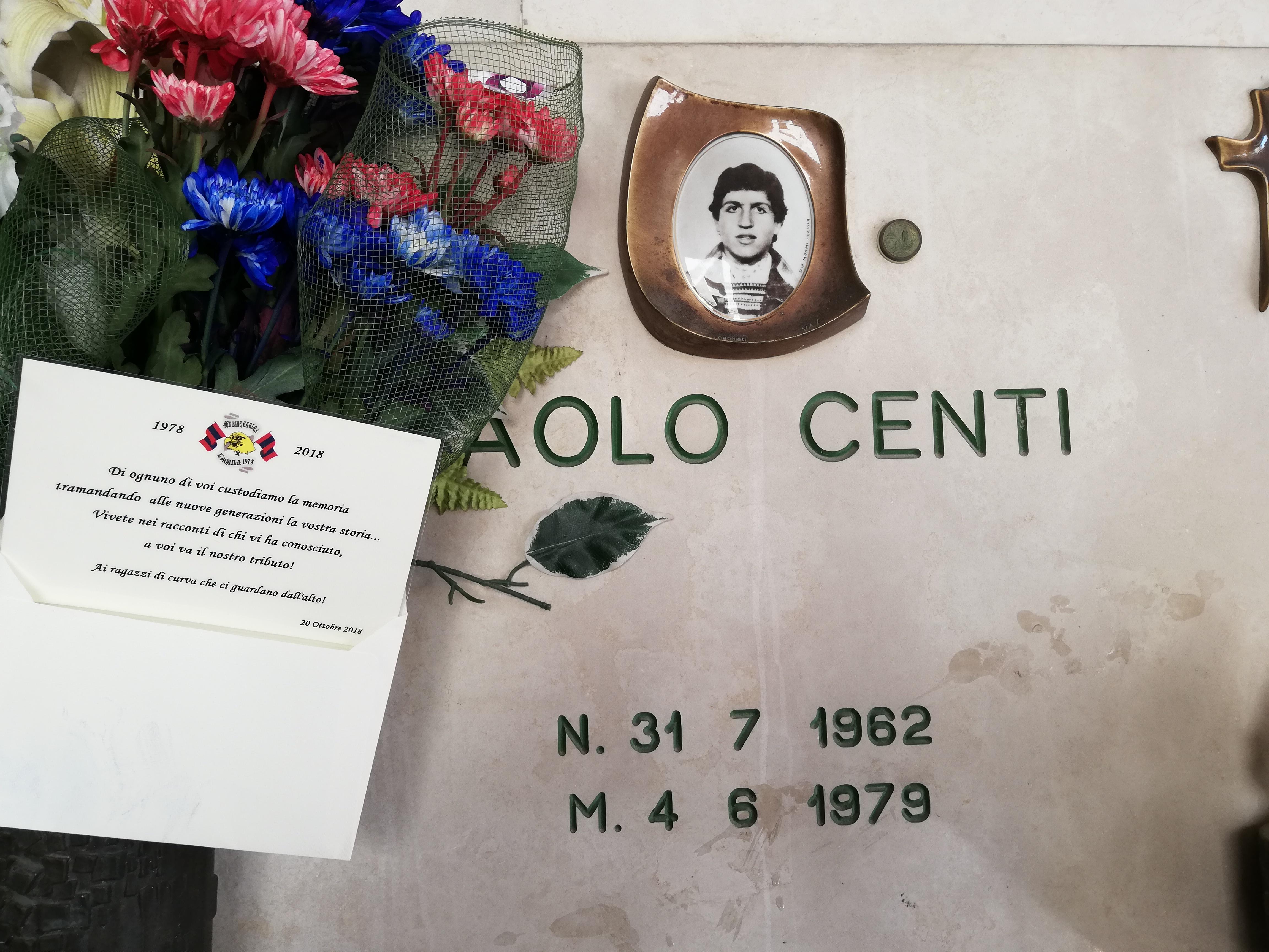 In memoria di Paolo Centi Sabato 20 Ottobre 2018 in occasione dei 40 anni Red Blue Eagles L'Aquila 1978