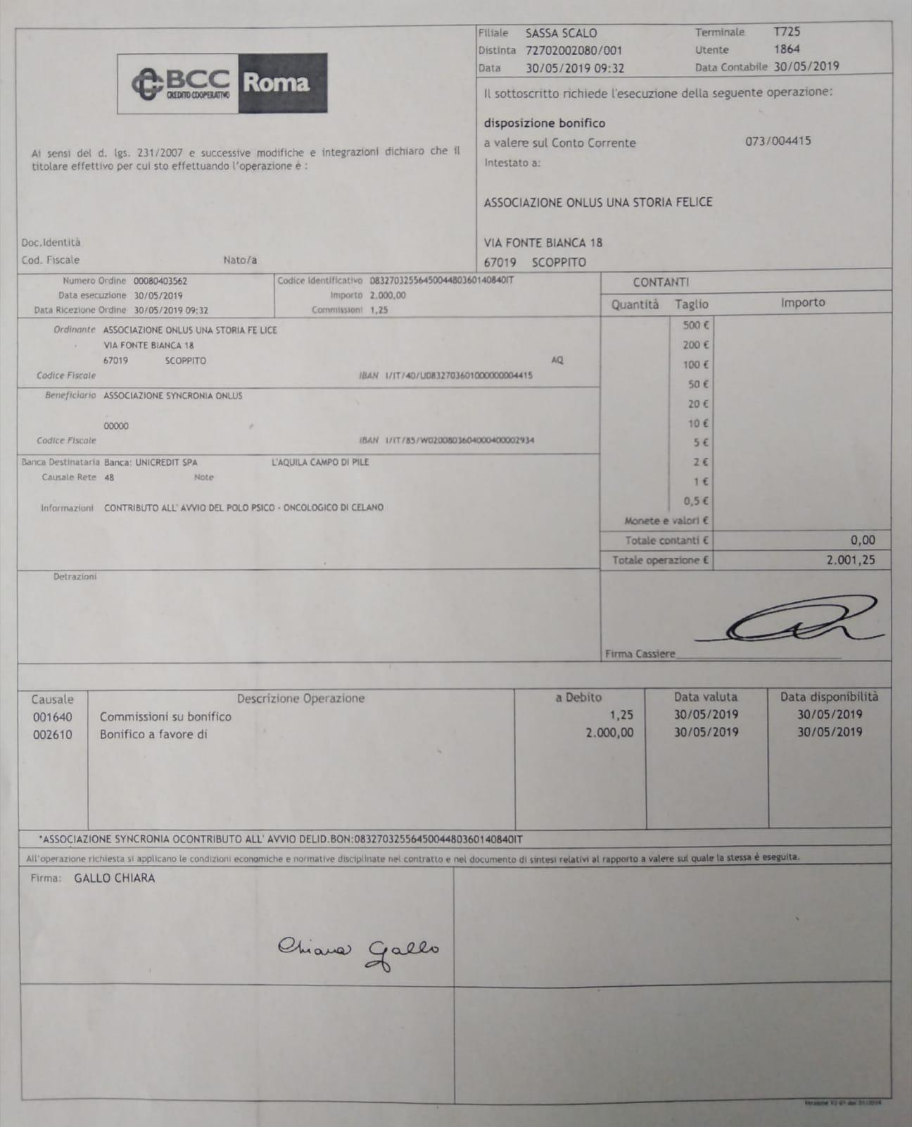 """Bonifico di 2.000€ all'associazione """"Syncronia"""" per il polo psiconcologo di Celano 30-5-2019"""