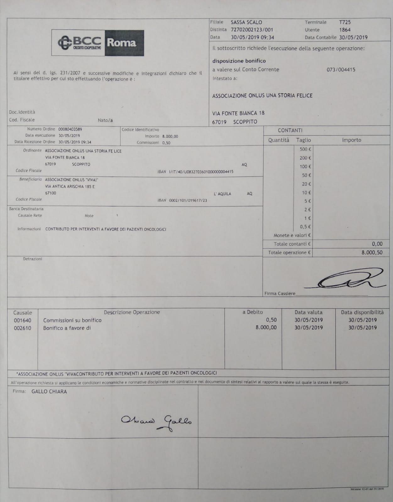 """Bonifico di 8.000€ all' associazione """" Viva"""" per l'acquisto di materiali per realizzare interventi di medicina estetica legata all'oncologia 30-5-2019"""