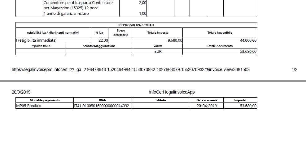 Bonifico di 53680€ per l'acquisto di 2 macchinari dignicap 19-3-2019