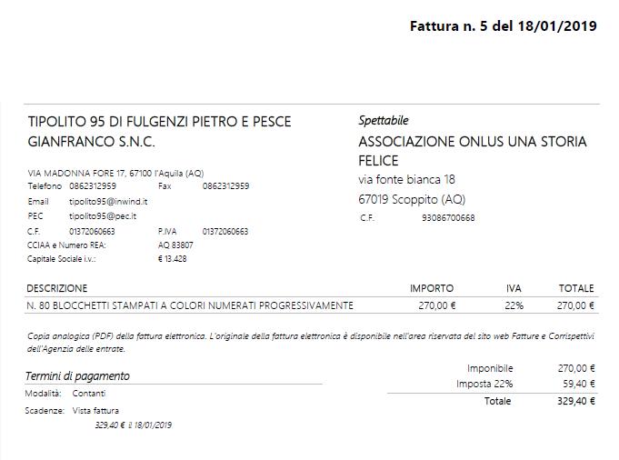 Fattura di 329,40€ della stampa dei 2.000 biglietti per la sottoscrizione popolare