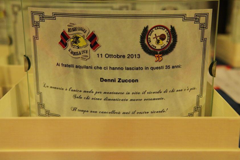 Targa in memoria di Denni Zuccon Venerdi 11 Ottobre 2013